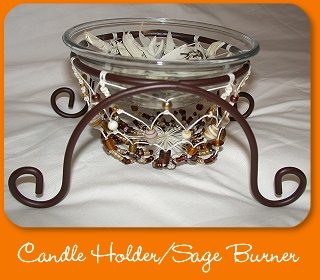 Beaded candle holder/Sage burner