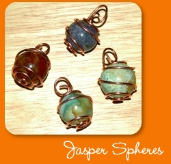 Copper wrapped fancy jasper spheres