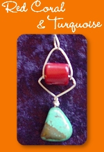 Red coral and turquoise pendant